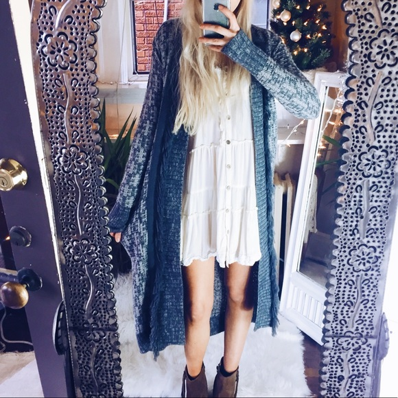 63% off Trouve Sweaters - TROUVE Fringe Duster Cardigan Grey ...